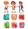 schoolchildren hold hands backpacks with supplies vector image vector image