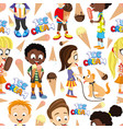 seamless pattern with funny kids and ice cream vector image