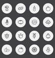 set of 16 editable food outline icons includes vector image vector image