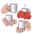Set of female hands holding a cup with hot vector image vector image
