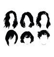 set of hairstyles for women collection of black vector image