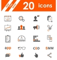Set of icons app seo smm vector image