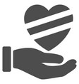 sick heart care hand flat icon vector image