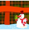 snowman with christmas tree near a big present vector image vector image
