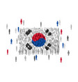 south korea state flag formed by crowd of cartoon vector image
