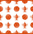 sport seamless pattern with basketball ball and vector image vector image