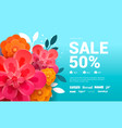 spring sale banner with flowers amd leaves vector image