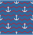 tile sailor pattern with white anchor on zig zag vector image vector image