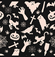 vintage monochrome halloween seamless pattern vector image