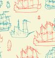 vintage ships pattern vector image vector image
