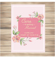 wedding invitation pink flowers pink background ve vector image vector image
