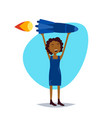 woman character holding rocket successful sturtup vector image