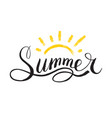 word summer in style of calligraphy or doodle vector image vector image