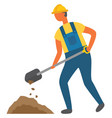 worker with spade tool and mud on ground workman vector image vector image