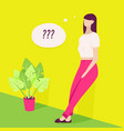 young woman thinking vector image