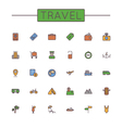 Colored Travel Line Icons vector image
