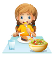 A young girl eating vector image vector image