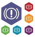 alert hexagon icon set