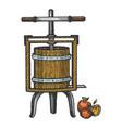 apple cider juice press engraving vector image vector image