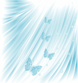 Blue butterflies with pearls wedding background vector image vector image