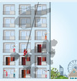 building on fire with victim on apartment vector image vector image