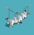 business plan creation 3d isometric concept vector image vector image