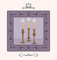 candlesticks holders set with lit up candles frame vector image