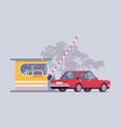 car at toll booth vector image vector image