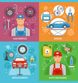 car service 4 flat icons square banner vector image