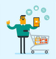 caucasian man using tablet for online shopping vector image vector image