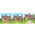 Children playing games at school ground vector image vector image