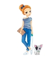 City Redhair Girl Walking With Dog vector image vector image