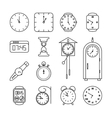 Clock and time line icons set vector image vector image