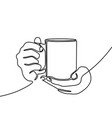 continuous line drawing hand holding mug with tea vector image vector image