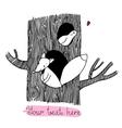 Cute cartoon fox and bird on the tree vector image vector image