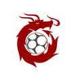 dragon soccer logo design mascot template isolated vector image vector image