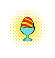 Easter egg on a stand icon comics style vector image vector image