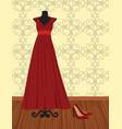 elegant red dress on mannequin vector image vector image