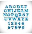 english alphabet and numerals from light blue vector image vector image
