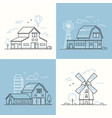 farm life - set of line design style vector image vector image