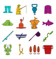 fishing tools icons doodle set vector image vector image