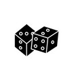 game of dice black icon sign on isolated vector image