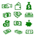 Green paper money and coins icons vector image vector image