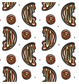 half chocolate donut seamless pattern vector image vector image
