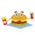 Hamburger holds a French fries and drink vector image vector image