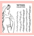 Hand drawn tattoo doodle borders collection vector image vector image