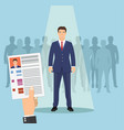 hands hold cv profile vector image vector image