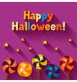 Happy halloween greeting card with candy lolipop vector image