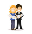 happy parents with twin baby boys vector image vector image