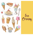 ice cream hand drawn menu with chocolate vector image vector image